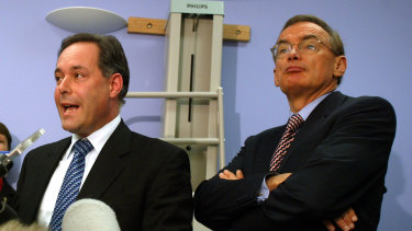 Former NSW health minister Morris Iemma and premier Bob Carr at St Vincent's hospital in Darlinghurst in April 2003 announcing new measures to be employed by NSW Health services to combat any outbreak of the deadly SARS virus.