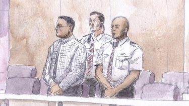 A sketch of Bradley Edwards in court for sentencing on December 23.