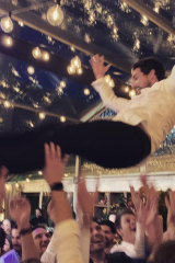 The happy couple certainly made the most of the night as friends shared photos on Instagram of the groom-to-be hoisted on the shoulders of friends on the dancefloor.