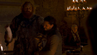 Would you like coffee with that? The offending guest star, bottom right, in a scene from Game of Thrones.