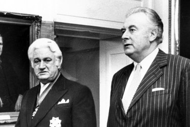 Sir John Kerr and then-prime minister Gough Whitlam in the King's Hall, Parliament House, Canberra on July 11 1974.