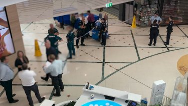 A crime scene was declared at Cairns Central Shopping Centre after a man died from a stab wound to his throat.