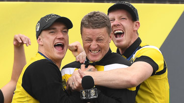 Many expect to see similar scenes from 2017 involving Dustin Martin, Damien Hardwick and Jack Riewoldt this season.