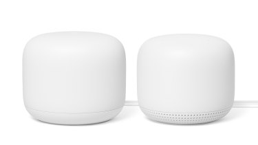 The Nest Wi-Fi router, left, is a little bigger than the add-on points which double as smart speakers.