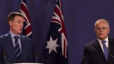Prime Minister Scott Morrison and Attorney-General Christian Porter announcing the updated draft to religious discrimination bill. Sydney. Decemeber 10, 2019. Photo: Rhett Wyman/SMH