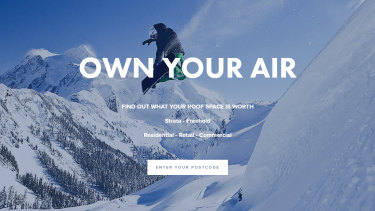"""Own your air"": The Airguru website claims the company can install apartments on top of a home within a day."
