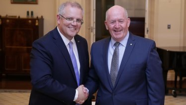 Scott Morrison is sworn-in as Prime Minister by Governor-General Sir Peter Cosgrove.