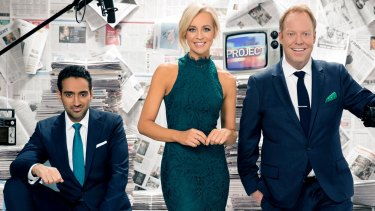 The Project hosts Waleed Aly, Carrie Bickmore and Pete Helliar.