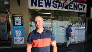 Mark Pigott outside the Taylor Square newsagent which has closed down due to lockout laws.