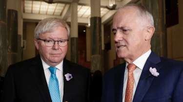 "Former prime ministers Kevin Rudd and Malcolm Turnbull are at loggerheads over News Corp's involvement in ""destroying"" the NBN."