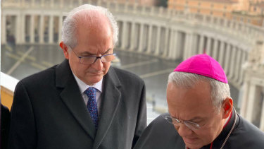 Antonio Ledezma, former mayor of Caracas, talks with Monsignor Edgar Peña Parra, deputy Vatican secretary of state, as a delegation representing Venezuelan opposition leader Juan Guaido, was received at the Vatican.