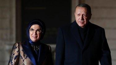 Turkey's President Recep Tayyip Erdogan and his wife Emine Erdogan in Paris recently.