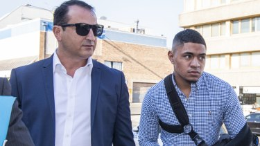 Charged: Manly's Manase Fainu in another of Mario Tartak's clients.