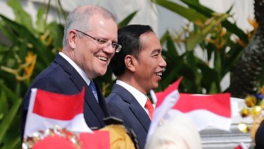 Scott Morrison and Indonesian President Joko Widodo, during Mr Morrison's August trip to Indonesia.