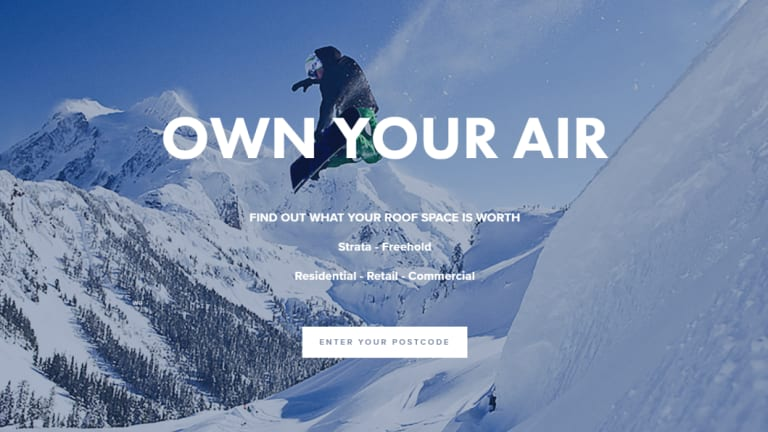 """""""Own your air"""": The Airguru website claims the company can install apartments on top of a home within a day."""