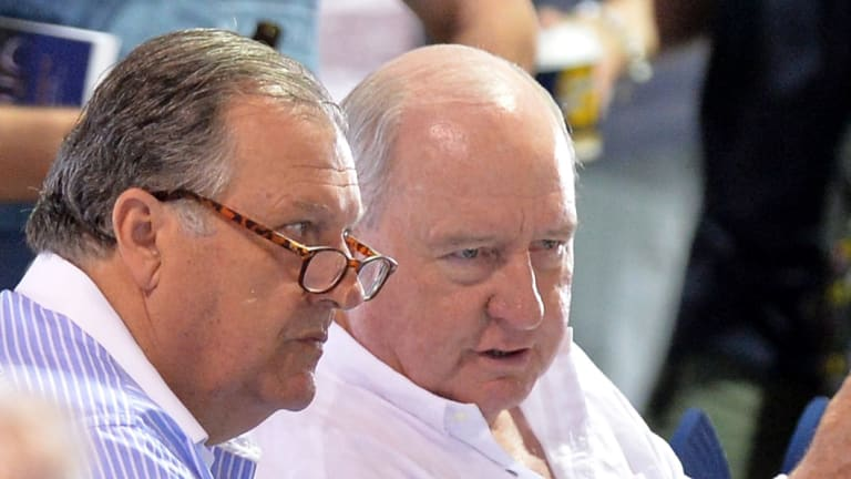 Alan Jones and racing business partner John Messara at a Magic Millions sale.