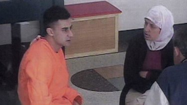 Bilal Skaf in Goulburn jail, photographed during a visit with his mother.