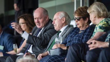 Governor-General Sir Peter Cosgrove sits alongside former prime minister John Howard at the SCG.