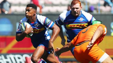 Rushed up: Damian Willemse with ball in hand for Stormers.