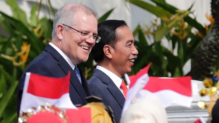 Scott Morrison and Indonesian President Joko Widodo, during Mr Morrison's August trip to Indonesia.