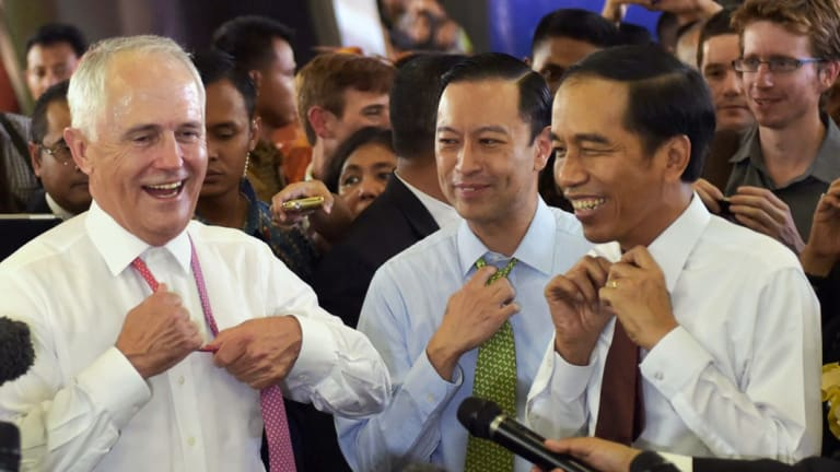Then prime minister Malcolm Turnbull and Indonesian President Joko    Widodo in November 2015. The two men invested considerable political effort in the trade deal between their countries.