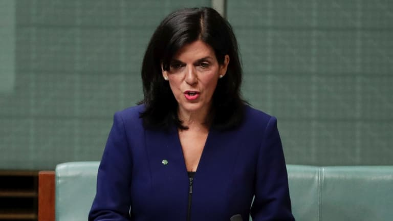Julia Banks announcing her resignation from the Liberal Party. Mr Dutton rejected her claims of bullying within the party.