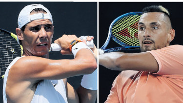 Head-to-head: Spain's Rafa Nadael will take on Australia's Nick Kyrgios in a grudge match at Melbourne Park.