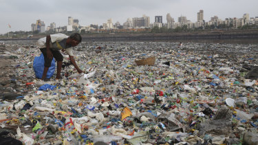 A man collects plastic and other recyclable material from the coast off Mumbai.
