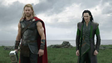 Unhappier days ... Loki (Tom Hiddleston, right) with his brother Thor (Chris Hemsworth) in Thor: Ragnarok.