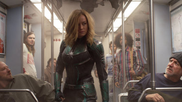Brie Larson as superhero Captain Marvel.