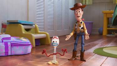 Forky finds a friend in Woody.