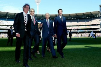 Joe Biden at the MCG during his trip to Australia in 2016 with former Melbourne Cricket Club president Stephen Smith, former AFL chairman Mike Fitzpatrick and AFL CEO Gillon McLachlan.