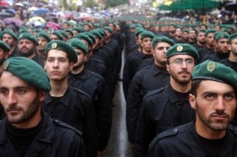 Soldiers of the Lebanese Shiite Hezbollah movement.