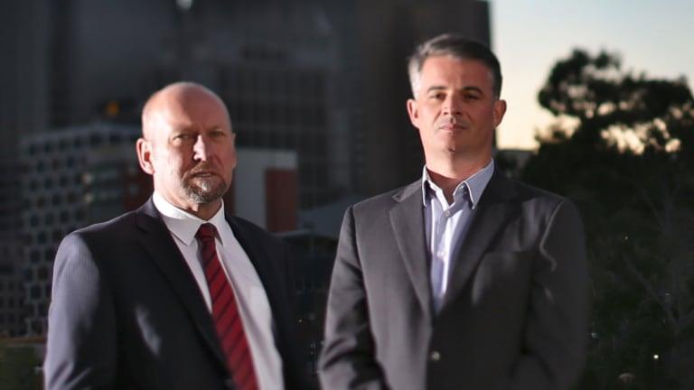 Corruption whistleblowers Brian Hood [left] and James Shelton.