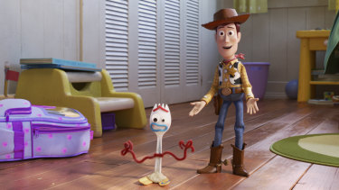 Woody meets Forky in Toy Story 4.