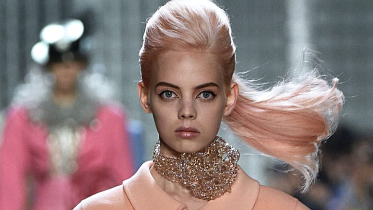 At Marc Jacobs the vintage winged eyeliner got an update with the prettiest pink lid.