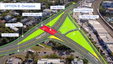 The second option would replace the roundabout with an overpass.