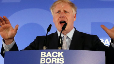 Boris Johnson speaks at the official launch of his leadership campaign.