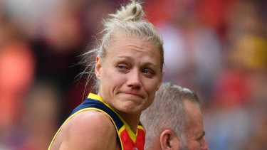 Erin Phillips starred for Adelaide before being carried from the ground after suffering a knee injury.