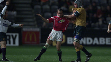 Harrison and Healey go toe-to-toe during a Lions and Australia A match
