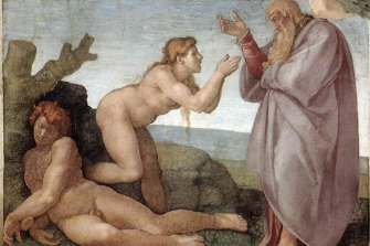 Michelangelo's <i>Creation of Eve</i> from the ceiling of the Sistine Chapel in Rome.