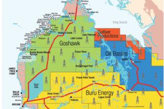Major exploration leases across the Kimberley.