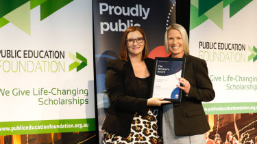 Lara Pope (right), pictured with NSW Education Minister Sarah Mitchell, was honoured for excellence in education.