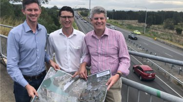 (From left) Main Roads Minister Mark Bailey, Aspley MP Bart Mellish and Sandgate MP Stirling Hinchliffe.