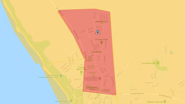 The emergency warning area as of 3.25pm Thursday December 12.