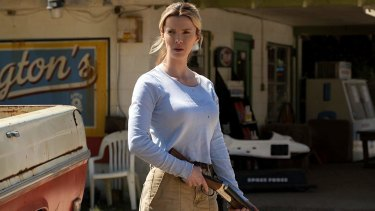 "Actress Betty Gilpin in a promotional image from the film ""The Hunt"", which also stars Oscar-winner Hilary Swank."