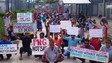 Refugees and asylum seekers protest at the Manus Island immigration detention centre in Papua New Guinea.