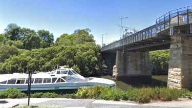 A street view of Gasworks Bridge at Parramatta.