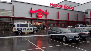 Police attend the scene of a violent incident at the Herman shopping centre in Kuopio, Finland.