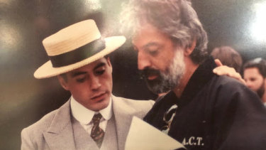 Andrew Jack with Robert Downey Jr on the set of Chaplin released 1992.